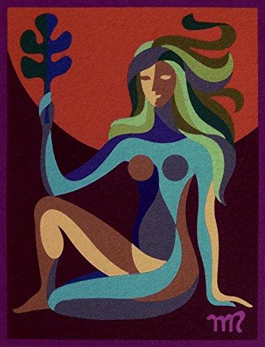 """VIRGO,""Spanish""Encanto""Tapestry, 7.5'' X 9.5""Original Mid-Century Modern, c.1965,100% Virgin Wool Felt,Mint Condition.ASTROLOGY SERIES. by Encanto Tapestries"