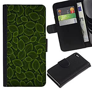 All Phone Most Case / Oferta Especial Cáscara Funda de cuero Monedero Cubierta de proteccion Caso / Wallet Case for Apple Iphone 4 / 4S // Green Leaf Nature Pattern