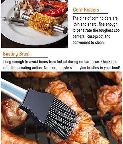 grilljoy 29PCS Barbecue Outils - Accessoires Barbecue résistants de d'acier Inoxydable avec Le Cas de Stockage - kit pour Barbecue de Voyage/Camping-Ustensile de Barbecue Parfait pour Hommes Femmes