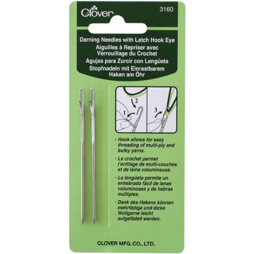 Clover 3160 Darning Needles with Latch Hook, Eye, 2-Piece