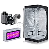 BloomGrow 300W LED Grow Light+High Reflective 600D Mylar Grow Tent+4