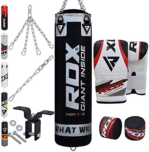 - RDX Punching Bag Filled Set Kick Boxing MMA Heavy Muay Thai Training Gloves Punching Mitts Hanging Chain Anchor Ceiling Hook Martial Arts 4FT 5FT