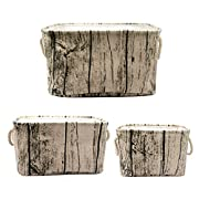 Jacone Stylish Tree Stump Design Rectangular Storage Baskets Cotton Fabric Washable Storage Bins Organizers with Rope Handles, Decorative and Convenient for Kids Rooms - Set of 3
