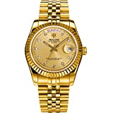 Men's Golden Stainless Steel Automatic Calendar Diamond Luminous Water Resistant Wrist Watches