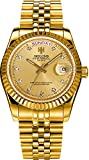 Men's Golden Stainless Steel Automatic Calendar Diamond Luminous Water Resistant Wrist Watches