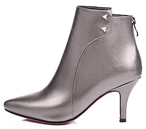 IDIFU Women's Elegant Studded Stiletto Kitten Heels Boots Pointed Toe Back Zipper Ankle Booties