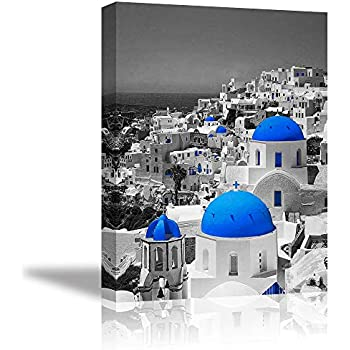Romantic Wall Art for Bedroom, PIY Greece Aegean Sea Canvas Prints with Grey Background, Rustic Small Town Picture Decor (1