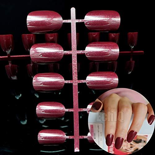 24 uñas postizas de color rojo vino, uñas postizas, uñas postizas, uñas acrílicas, uñas postizas francesas, pegamento artístico: Amazon.es: Belleza