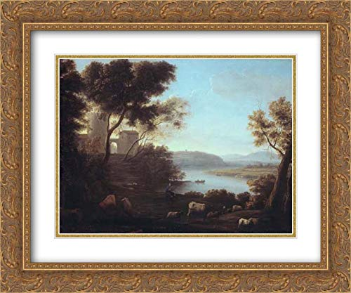 (Claude Lorrain (Claude Gellee) - 24x20 Gold Ornate Frame and Double Matted Museum Art Print - Pastoral Landscape: The Roman Campagna)