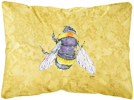 Caroline s Treasures 8852PW1216 Bee on Yellow Canvas Fabric Decorative Pillow, 12H x16W, Multicolor