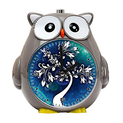 girlsight1 Owl Alarm Clock for Kids, Silent Non-Ticking Cartoon Quartz Loud Alarm Clock, Cute, Handheld Sized, Backlight, Personality Pattern flower609.Tree Abstract Art Flowers Leaves Structure Blue