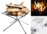 MINI-FACTORY Camp Fire Mesh Pit, Lightweight Portable Stainless Fire Stand Outdoor Garden Backyard Fireplace