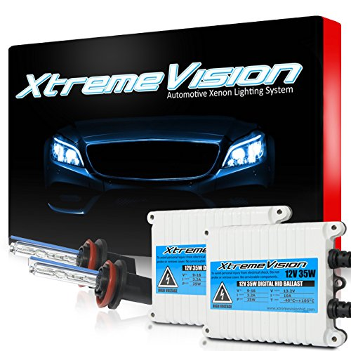 XtremeVision 35W AC Xenon HID Lights with Premium Slim AC Ballast - H11 6000K - 6K Light Blue - 2 Year ()
