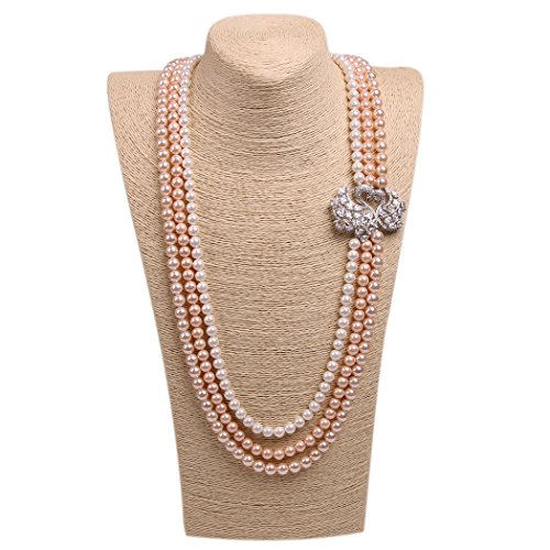 Romantic Time Elegant Silver Lover Swan Peacock Multilayer Pearls Sweater Chain Necklace (grey)