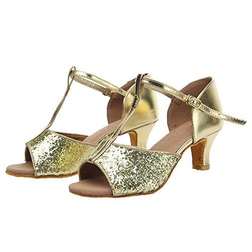 Dance Shoes 216 Satin Women Gold 5cm Model UK SWDZM Latin Ballroom EqanxEwPR