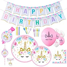 Unicorn Party Supplies & Decorations - Disposable Tableware Set with Happy Birthday Banner, Plates, Balloons, Straws, Blowers, 9 Oz Cups, White & Pink Unicorn Balloons – 169pcs, Serves 16 People