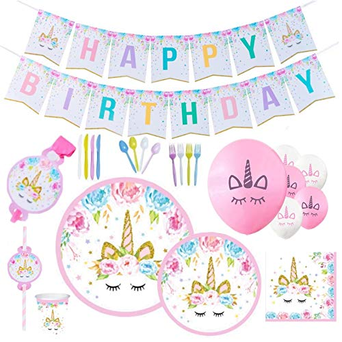 Unicorn Party Supplies & Decorations - Disposable Tableware Set with Happy Birthday Banner, Plates, Balloons, Straws, Blowers, 9 Oz Cups, White & Pink Unicorn Balloons  169pcs, Serves 16 People