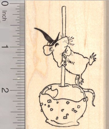 Halloween Mouse with Caramel Candy Apple Rubber Stamp -