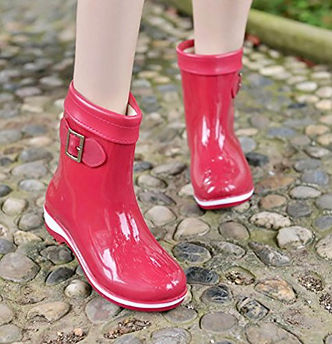 LvRao Women's Waterproof Wellies Booties Rain Snow Rubber Shoes Wellington Boots Red shfCKEu