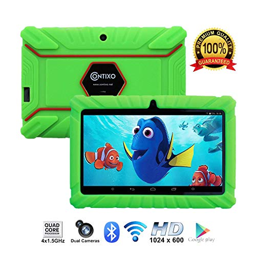 [Upgraded] Contixo K2 HD 7″ Kids Tablet, Android 6.0 Bluetooth WiFi Dual Camera Parental Controls for Children Includes Protection Case Green