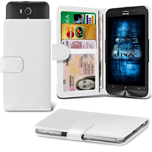 (White) Asus Zenfone 2E Adjustable Spring Wallet ID Card Holder Case Cover ONX3 ()