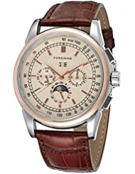 Forsining High Grade Automatic Round Champagne Color Dial Men Watch with Brown Genuine Leather Strap
