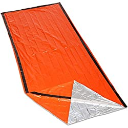 Emergency Shelter Tube Tents, ECVILA Emergency Sleeping Bag with Drawstring Carrying Bag, Lightweight, Waterproof Must-Have Outdoor Safety & Survival Gear for Hiking, Camping (Orange)