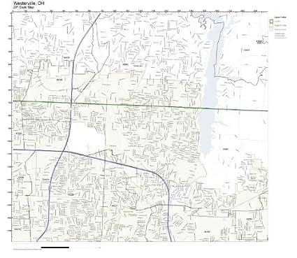 Amazon.com: ZIP Code Wall Map of Westerville, OH ZIP Code Map