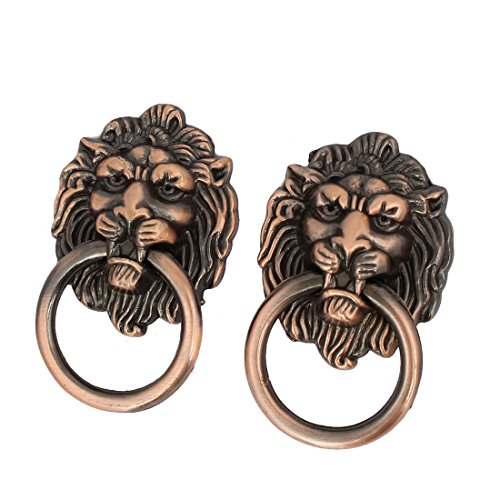 (uxcell Metal Single Hole Lion Head Design Pull Handles Rings Copper Tone 2pcs )