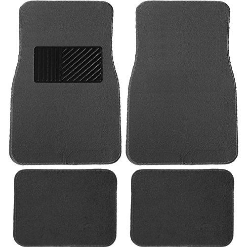 U.A.A. Inc Premium Carpet Floor Mats w/Deluxe Heel Pad Universal - Charcoal