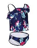 iDrawl Girls Two Piece Beach Wear Floral Tankini Swimwear, XL (US 10-12), Flower