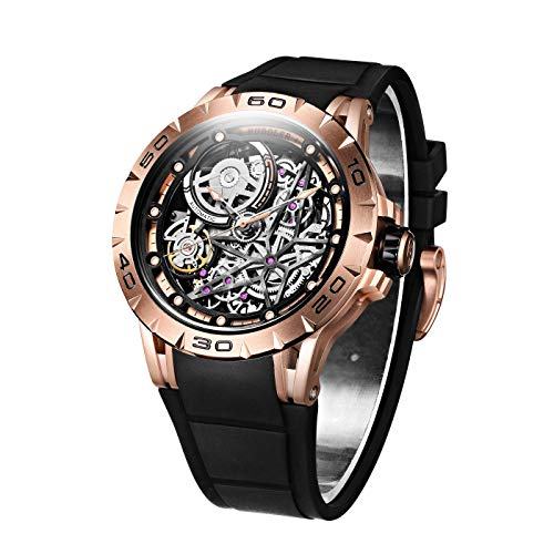 (Huboler Men's Watch Skeleton Automatic Mechanical Stainless Steel Wrist Watches (Rose Gold) )