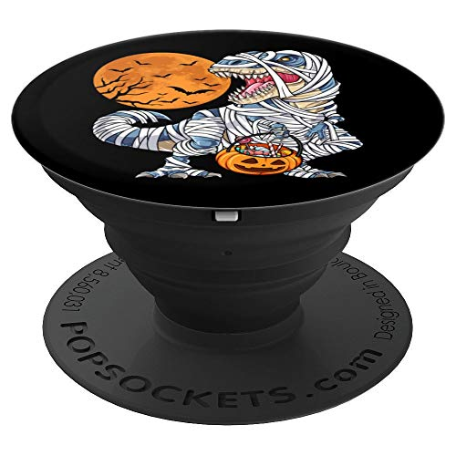 (Dinosaur T rex Halloween Mummy Funny Black Gift Pumpkin Moon - PopSockets Grip and Stand for Phones and)