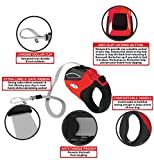16ft Retractable Dog Leash with 5 Waste Bag Rolls & a Waste Bag Holder- Tangle Free Nylon Ribbon- Heavy Duty Locking Mechanism- Great Puppy Training Tool- For Small Medium & Large Dogs (Red)
