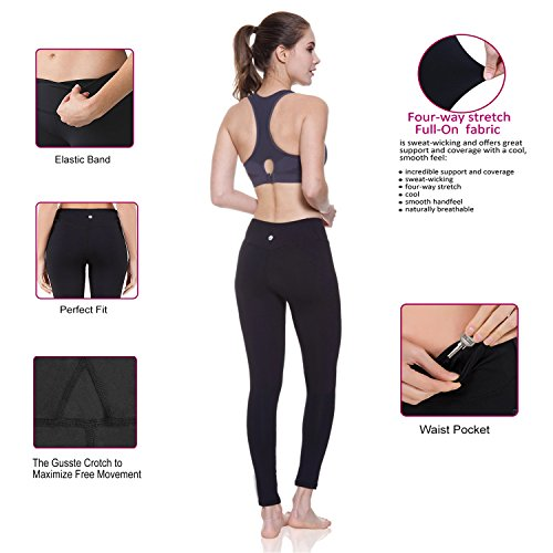 48da2dc2f3424 Lesfun Black Leggings Sexy Capris Yoga Pants with Sheer Mesh Tummy Control  Workout Tights for Women