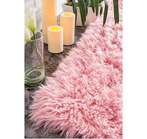 - OSD 3'x5' Pink Flokati Shabby Chic Shag Area Rug, Vibrant Color Soft New Zealand Wool, Classic Contemporary French Country Themed, Indoor Solid Pattern Living Room Rectangle Carpet