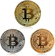 3Pcs Bitcoin Coin - Gold Silver and Bronze Physical Blockchain Cryptocurrency in Protective Collectable Gift |