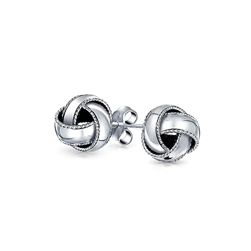 e7f8fa061 Image Unavailable. Image not available for. Color: Love Knot Stud Earrings  Round Ball Classic Woven Braided Edge 925 Sterling Silver 10mm