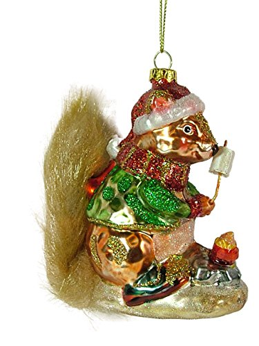 Camping S'more Squirrel, Glass made our list of the most unique camping Christmas tree ornaments to decorate your RV trailer Christmas tree with whimsical camping themed Christmas ornaments!