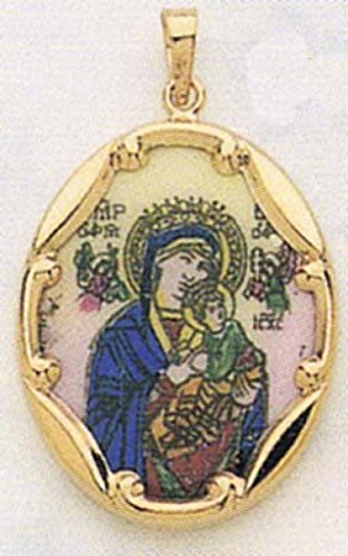 14K Gold and Porcelain Our Lady of Perpetual Help Religious Medal - 14k Yellow Gold, 1 Inch X 3/4 Inch (25.0mm X 19.5mm) -