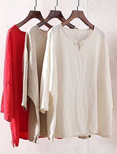 Minibee Women's Elbow Sleeve Linen Tunic Tops Solid Color Retro Blouse Gray L by Minibee (Image #3)