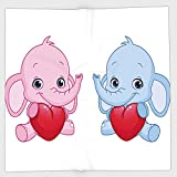 Cotton Microfiber Hand Towel,Elephant Nursery,Pink and Blue Kid Infant Elephants Holding Hearts Smiling Twins Decorative,Pale Pink Blue White,for Kids, Teens, and Adults,One Side Printing