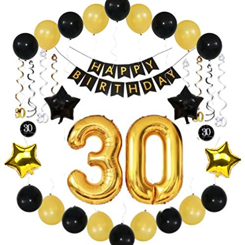 30th Birthday Party Decorations for Him Her Man Woman Birthday Banner, Balloons, Sparkling Hanging Swirls - Complete 36 Piece Bundle of Party Supplies