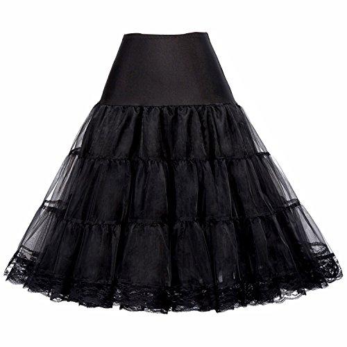 GRACE KARIN Lolita Cosplay Mini Skirts Dress Petticoat Crinoline (XL,Black) (Lace Crinoline Petticoat)