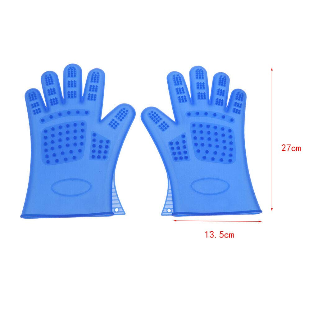 Agordo 2Pc Cleaning Brush Magic Glove Pet Dog Cat Massage Hair Removal Grooming Groomer (Color - Blue)