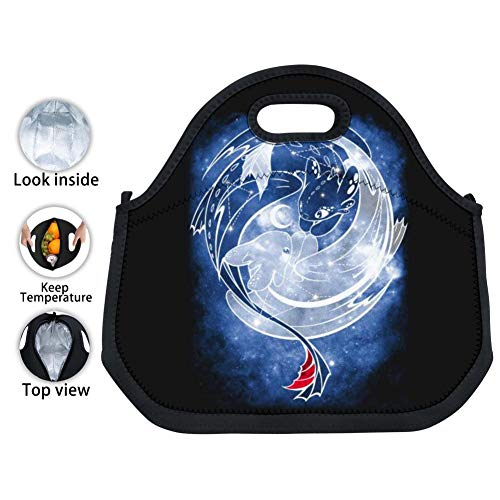 Mnliu kk Black Neoprene Tooth-Less Dragon and Light Fury Lunch Tote Waterproof Insulated Thermal Lunch Bag Leakproof Lunch Box with Zipper for Adults Kids Work Outdoor Travel Picnic