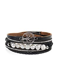 AZORA Casual Leather Bracelet for Women Wrap Around Bracelets with Pearl Cuff Bangle Wristband Gifts for Lady Girls Teenagers
