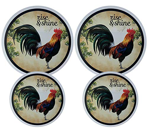 Set of 4 Electric Stove Burner Covers (Rooster 1)
