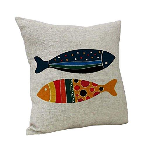Pillow Cases Colorful Fish Vintage Cotton Linen Throw Pillow Sham Cushion Cover Home Sofa Décor Pillowslip (MULTICOLOR, (Fish Sham)