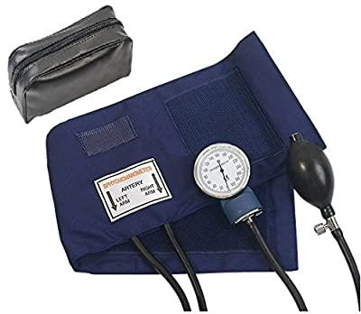 HTE Adult Deluxe Aneroid Sphygmomanometer with black cuff and leather Carrying case